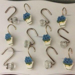 12 Shower Curtain Hooks 2 Designs Floral / Crystal